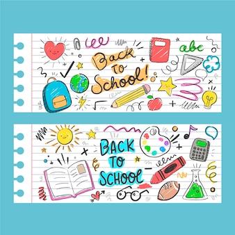 Mão desenhada de volta para estandartes da escola com foto