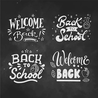 Mão desenhada de volta para letras da escola