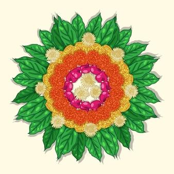 Mão desenhada decoração floral onam