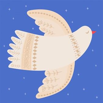 Mão desenhada decorado cartão de pomba