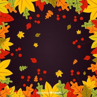 Mão desenhada deixa fundo de outono