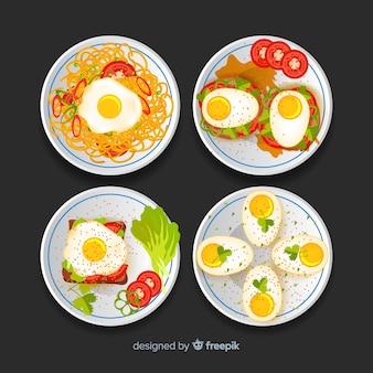 Mão desenhada delicioso conjunto de prato de ovo