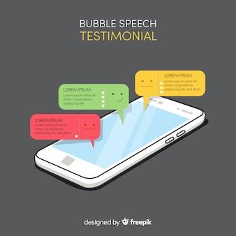 Mão desenhada depoimento de bolha do discurso