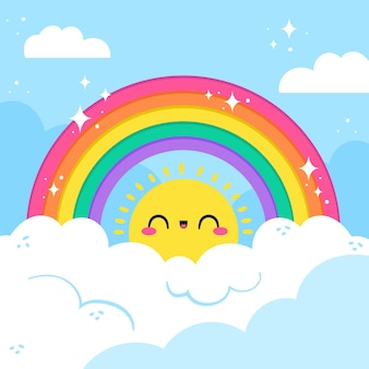 Mão desenhada design arco-íris