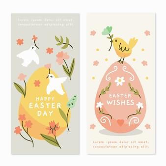 Mão desenhada design banners do dia de páscoa