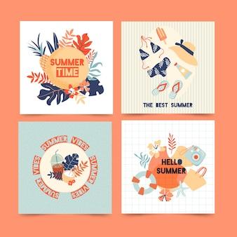 Mão desenhada design cartões de verão