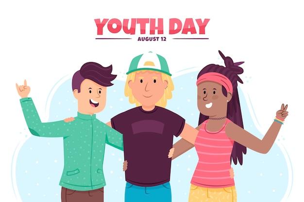 Mão desenhada design conceito de dia da juventude