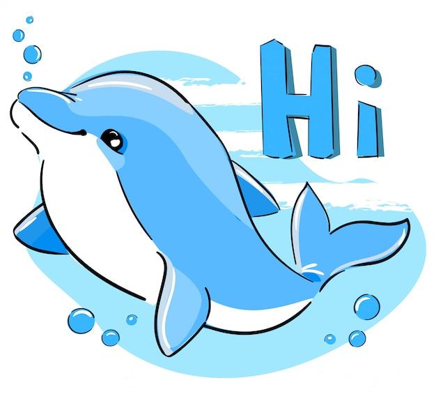 Mão desenhada design de impressão infantil de golfinho fofo para camisetas, maiô, tecido. ilustração. inscrição - oi.