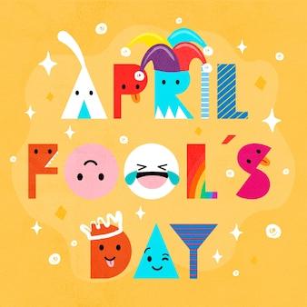 Mão desenhada design dia da mentira de abril