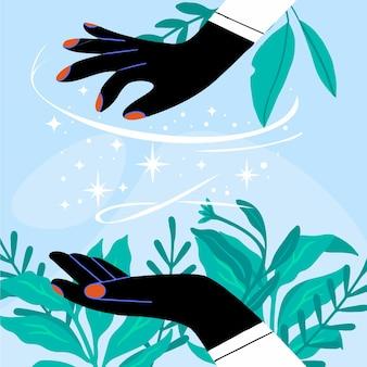 Mão desenhada design energia cura mãos
