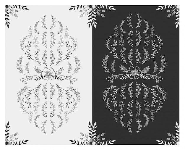 Mão desenhada design floral elements