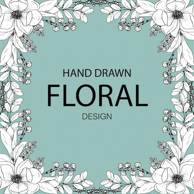 Mão desenhada design floral linha arte premium