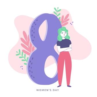 Mão desenhada design mulher com cabelo verde