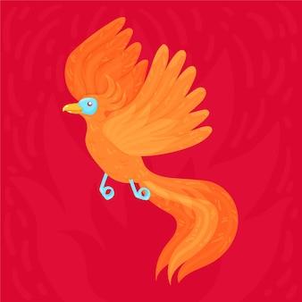 Mão desenhada design pássaro fênix