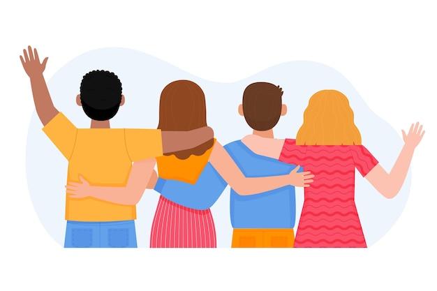 Mão desenhada design pessoas abraçando juntos