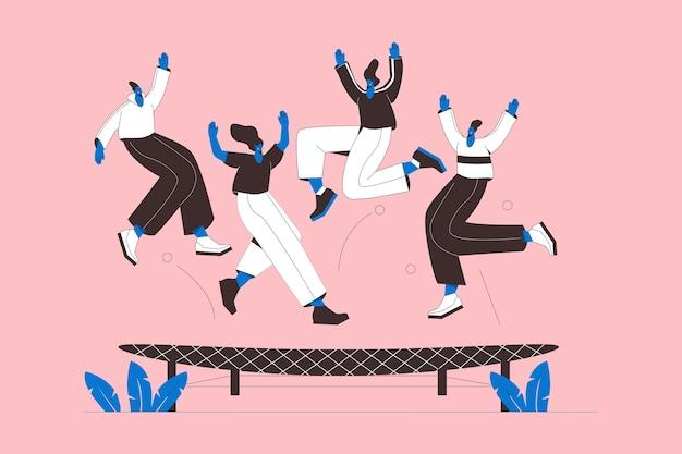 Mão desenhada design plano pessoas pulando