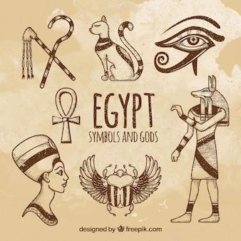 Mão desenhada deuses egípcios e coleção de símbolos