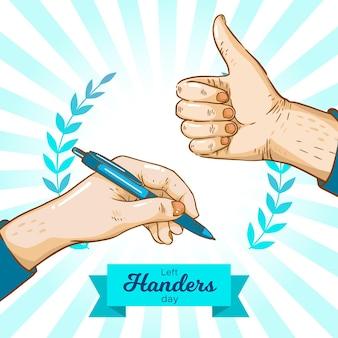 Mão desenhada dia canhotos com caneta