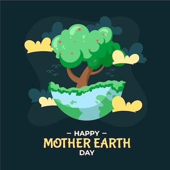 Mão desenhada dia da mãe terra com ilustração de árvore