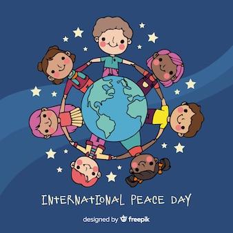 Mão desenhada dia da paz com as crianças
