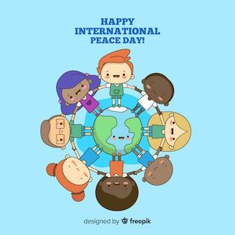 Mão desenhada dia da paz com crianças