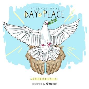 Mão desenhada dia da paz com uma pomba