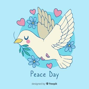 Mão desenhada dia da paz pomba