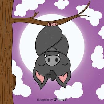 Mão desenhada dia das bruxas dormindo morcego