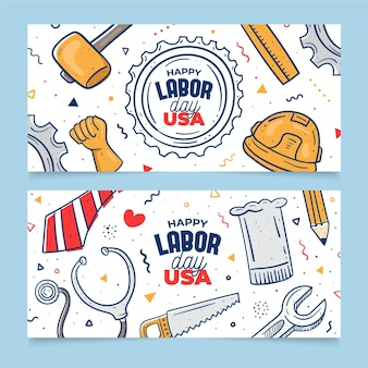 Mão desenhada dia do trabalho (eua) banners