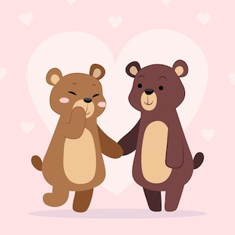Mão desenhada dia dos namorados casal de animais