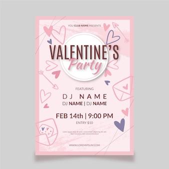 Mão desenhada dia dos namorados festa flyer / cartaz