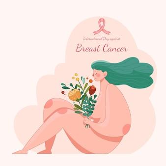 Mão desenhada dia internacional contra ilustração do câncer de mama