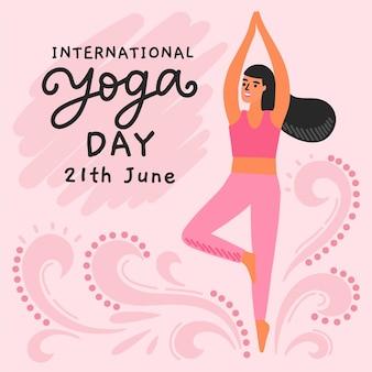 Mão desenhada dia internacional de yoga com mulher