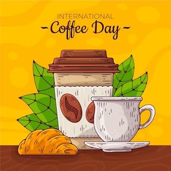 Mão desenhada dia internacional do café com xícara e caneca