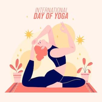 Mão desenhada dia internacional do yoga