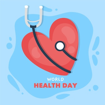 Mão desenhada dia mundial da saúde com coração e estetoscópio