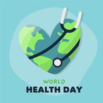 Mão desenhada dia mundial da saúde com estetoscópio e terra