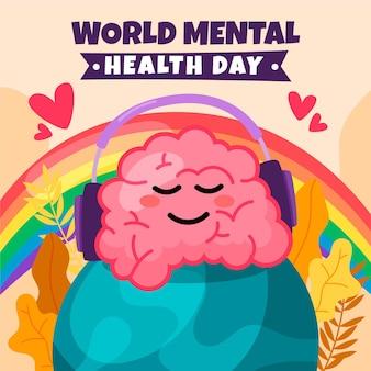 Mão desenhada dia mundial da saúde mental com cérebro e fones de ouvido