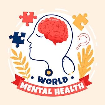 Mão desenhada dia mundial da saúde mental com cérebro