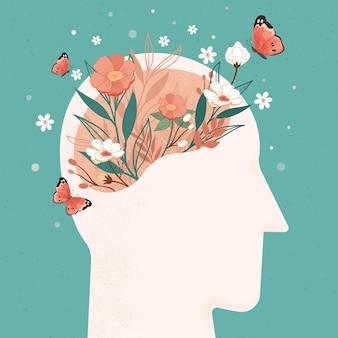 Mão desenhada dia mundial da saúde mental