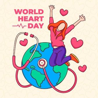 Mão desenhada dia mundial do coração com mulher