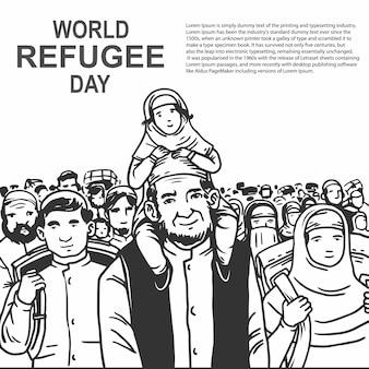 Mão desenhada dia mundial dos refugiados com pai e filho