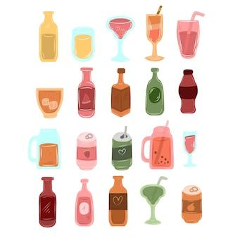 Mão desenhada diferente tipo de bebida de garrafa