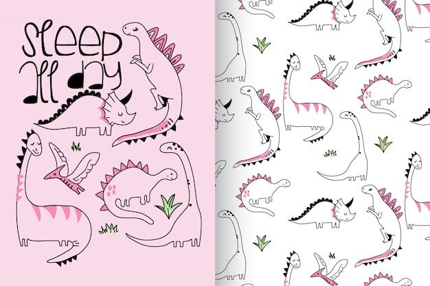 Mão desenhada dinossauro bonito com padrão vector set