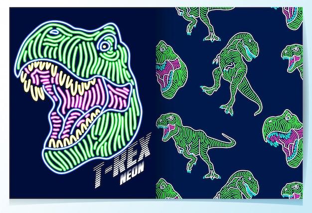 Mão desenhada dinossauro com conjunto de padrão de efeito de néon