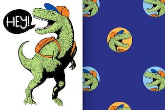 Mão desenhada dinossauro com padrão vector set