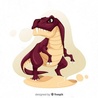 Mão desenhada dinossauro t-rex