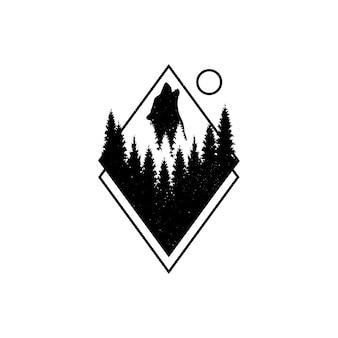 Mão desenhada distintivo de viagens com pinheiros e lobo