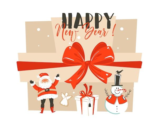 Mão desenhada diversão abstrata feliz ano novo tempo cartoon ilustração cartão com papai noel, caixas de presente surpresa, boneco de neve e fase de tipografia moderna isolada no fundo do artesanato.