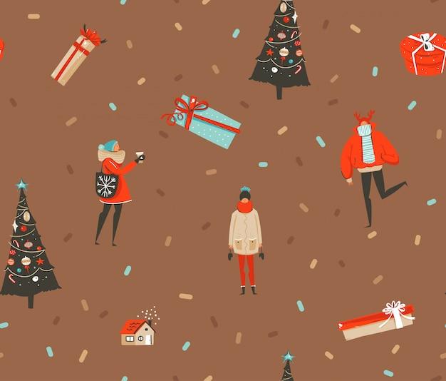 Mão desenhada diversão abstrata feliz natal e feliz ano novo desenho animado festivo rústico sem costura padrão com ilustrações bonitinha de pessoas de natal e caixas de presente em fundo marrom.